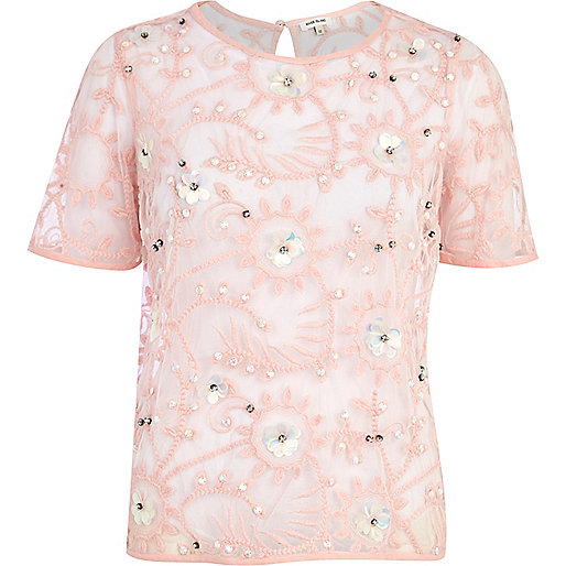Pink flower lace embellished top