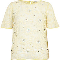 Light yellow flower lace embellished top