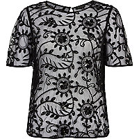 Black flower lace embellished top