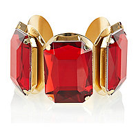 Red gem stone statement cuff bracelet
