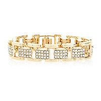 Gold tone diamante box chain bracelet
