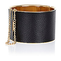 Black curb chain trim cuff bracelet