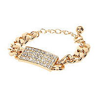 Gold tone diamante tag curb chain bracelet