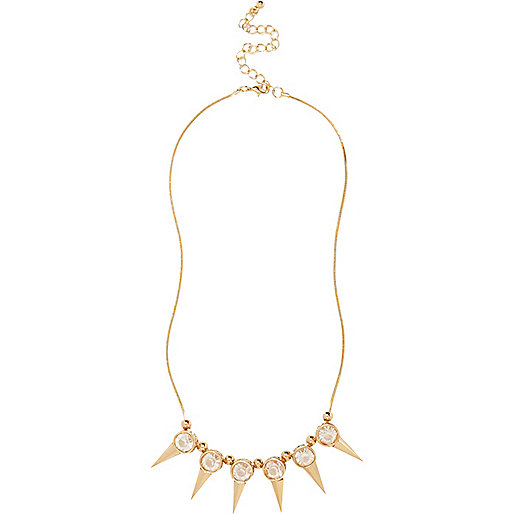Gold tone gem stone spike necklace