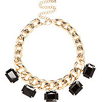 Black gem stone chunky curb chain necklace