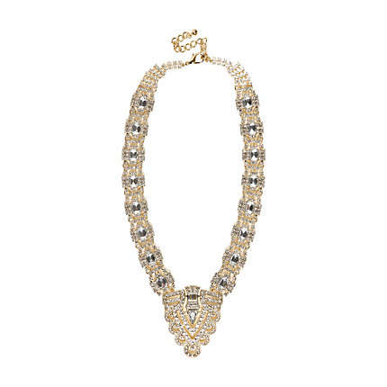 Gold tone diamante deco statement necklace