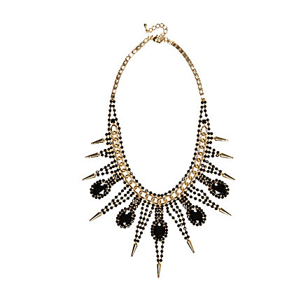 Black diamante curb chain necklace