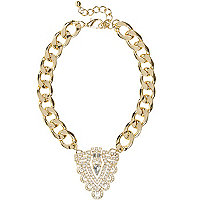 Gold tone statement curb chain necklace