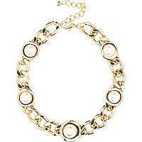 Gold tone embellished curb chain necklace