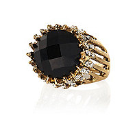 Black gem stone statement ring