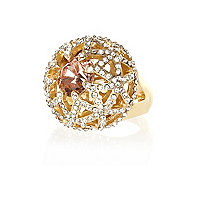 Gold tone diamante dome ring