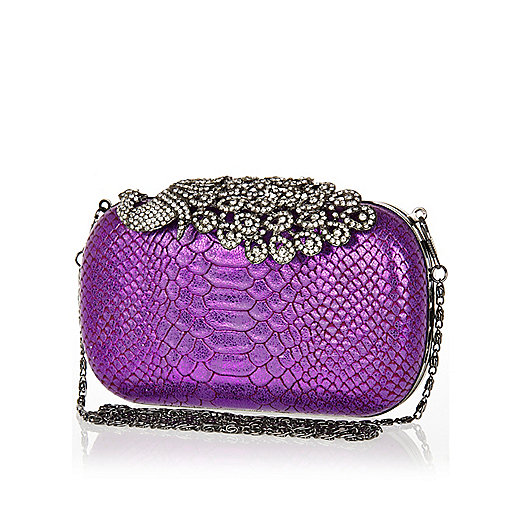 Purple diamante peacock box clutch bag