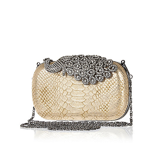 Gold diamante peacock box clutch bag
