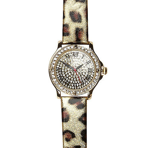 Gold tone leopard print watch