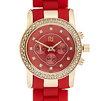 Red diamante silicone watch