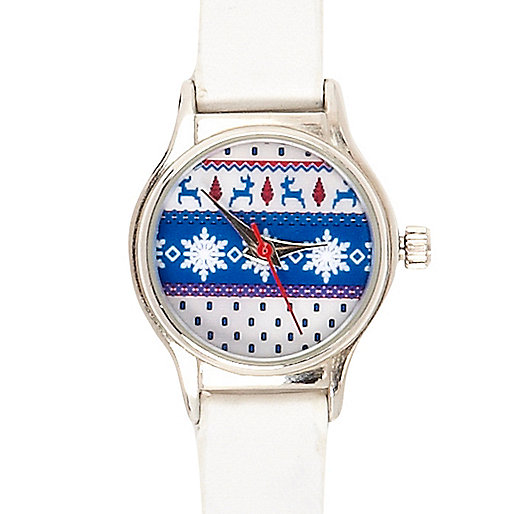 White Christmas print watch