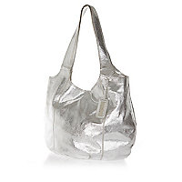 Silver metallic leather slouch bag