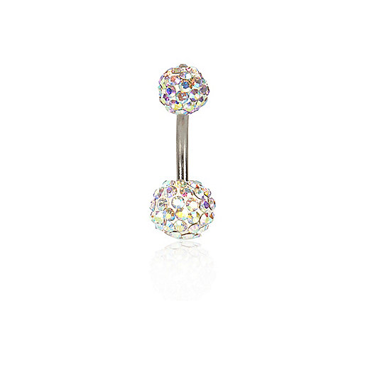 Blue diamante encrusted belly bar