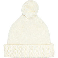Cream tinsel beanie hat