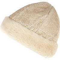 Cream metallic faux fur cossack hat