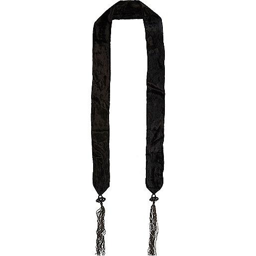Black skinny velvet tassel scarf