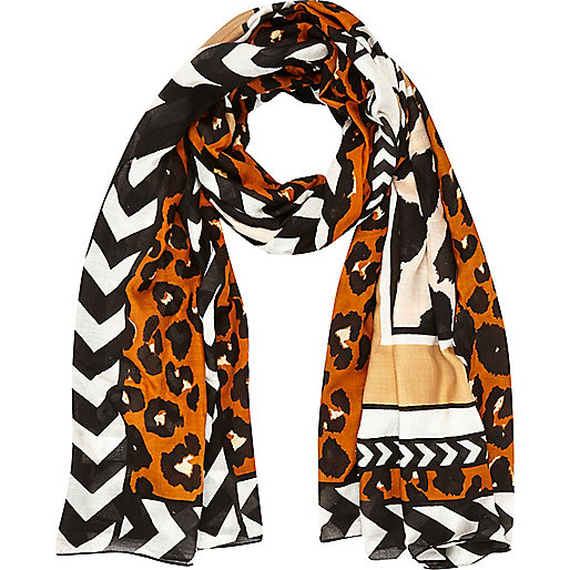Orange leopard border print scarf
