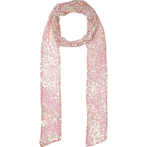 Light pink sequin skinny scarf