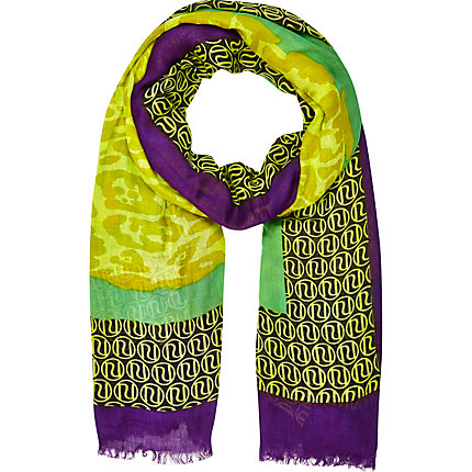 Lime colour block RI scarf