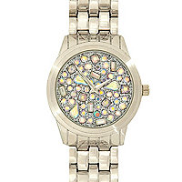 Silver tone iridescent gem bracelet watch