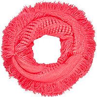 Bright coral tassel snood
