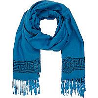 Blue RI border print blanket scarf