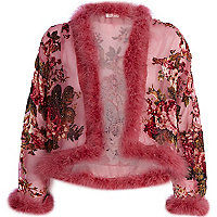 Pink floral devore faux fur trim jacket