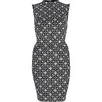 Silver geometric print high neck dress