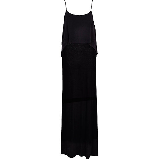 Black layered cami maxi dress