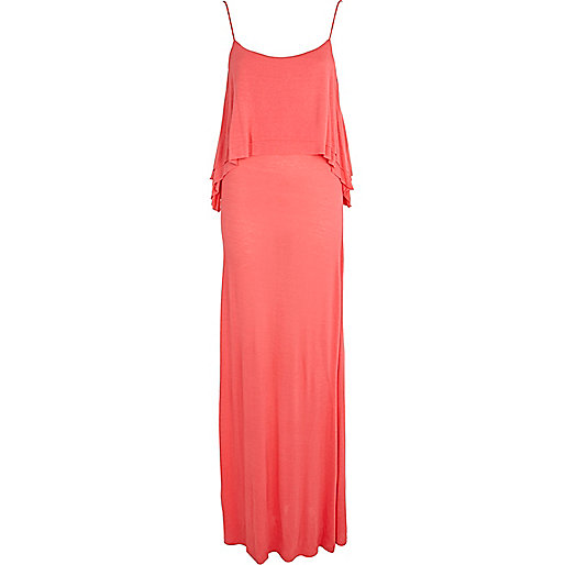 Coral layered cami maxi dress