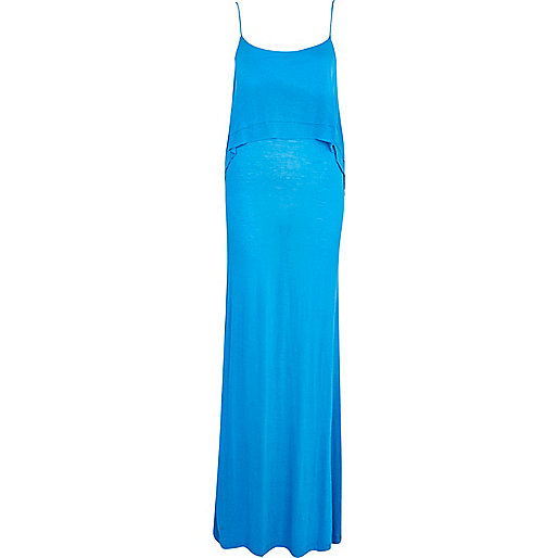 Bright blue layered cami maxi dress