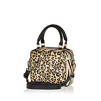 Brown animal print pony hair mini box bag