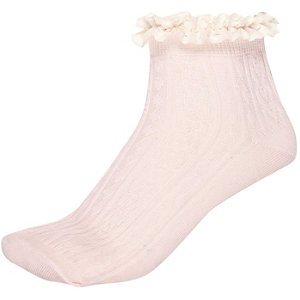 Pink frill trim ankle socks