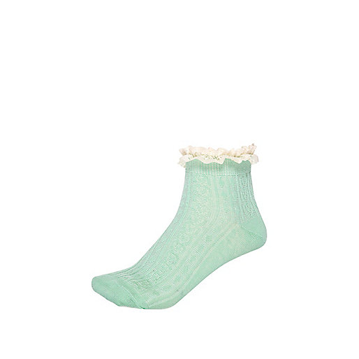 Green frill ankle socks