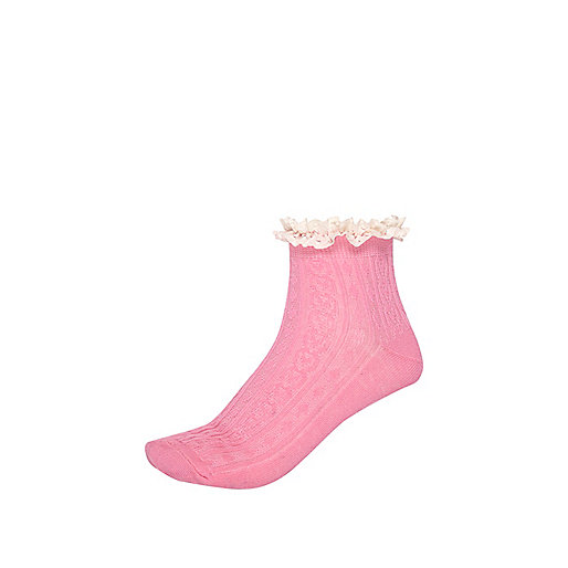 Pink cable knit frill trim ankle socks