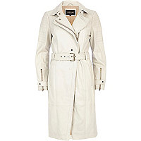 Cream leather trench coat