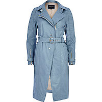 Blue leather trench coat