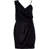 Black asymmetric strap slip dress