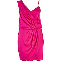 Pink asymmetric slip dress