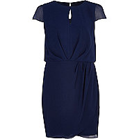 Navy blue cut out cap sleeve dress