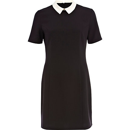 Black and white collared shift dress