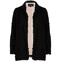 Black boucle open front jacket
