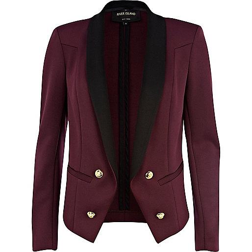 Dark red contrast collar tux blazer