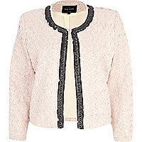 Light pink chain trim textured jacket