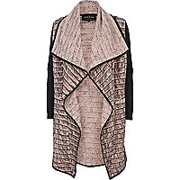 Light pink eyelash textured waterfall jacket